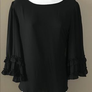 Max Studio- Black ruffle sleeve top. Size M